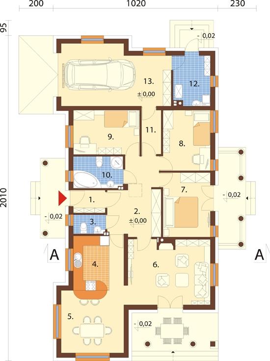 Projekt domu L-6313 - rzut