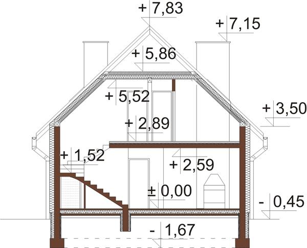 Projekt domu DM-6055 - przekrój