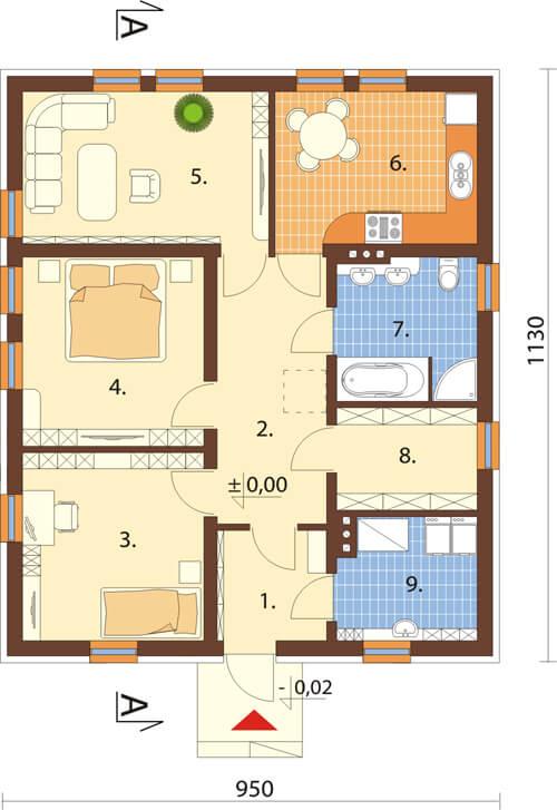 Projekt domu DM-6308 - rzut