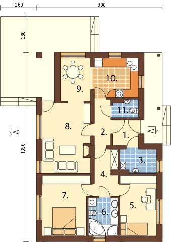 Projekt domu DM-6319 - rzut
