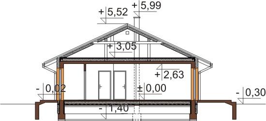 Projekt domu L-6305 - przekrój