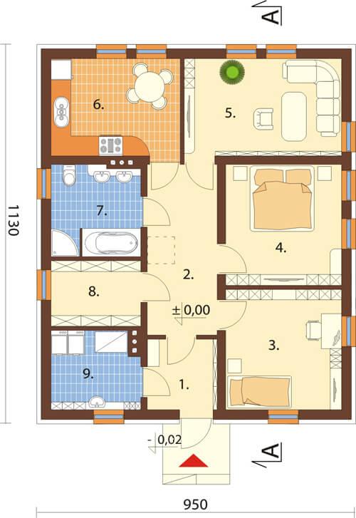 Projekt domu L-6308 - rzut