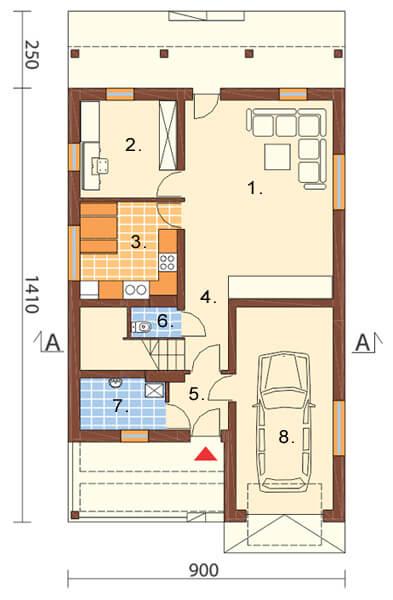 Projekt domu L-6311 - rzut