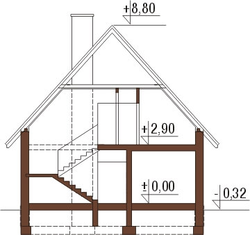 Projekt domu L-6311 - przekrój