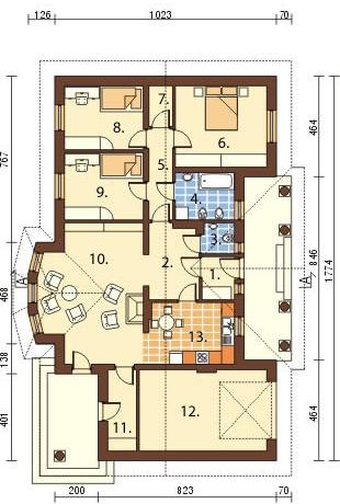Projekt domu DM-6079 - rzut