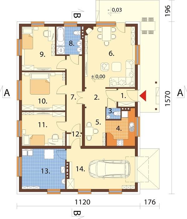 Projekt domu DM-5518 - rzut