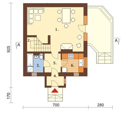 Projekt domu DM-6080 - rzut