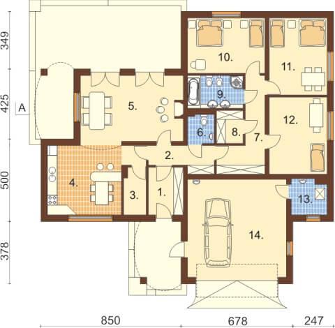Projekt domu DM-6331 - rzut