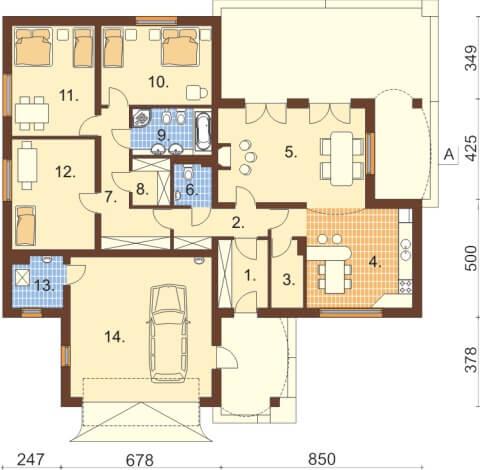 Projekt domu L-6331 - rzut