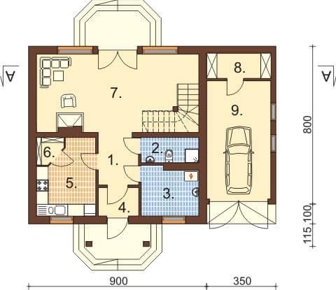 Projekt domu L-6333 - rzut