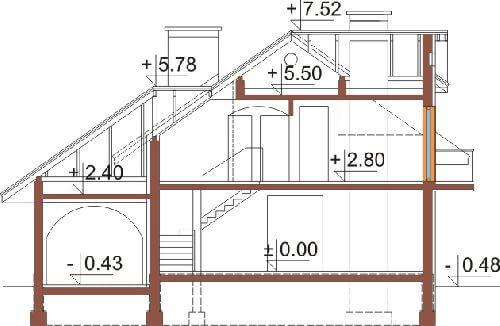 Projekt domu L-6333 - przekrój