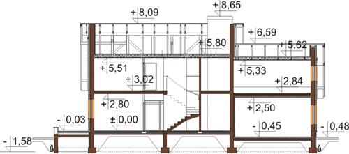 Projekt domu DM-6345 - przekrój