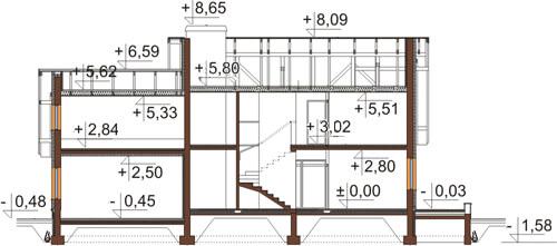 Projekt domu L-6345 - przekrój