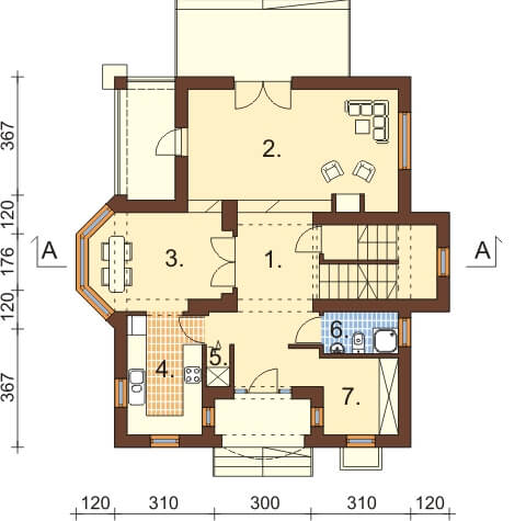 Projekt domu DM-6351 - rzut