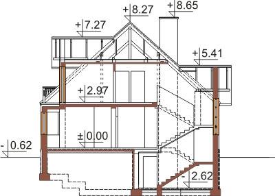 Projekt domu DM-6351 - przekrój