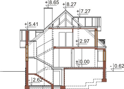Projekt domu L-6351 - przekrój