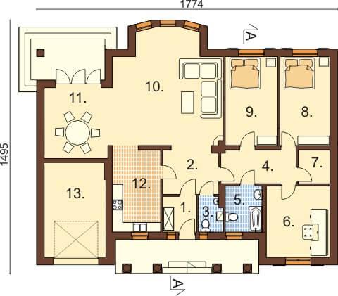 Projekt domu L-6326 - rzut