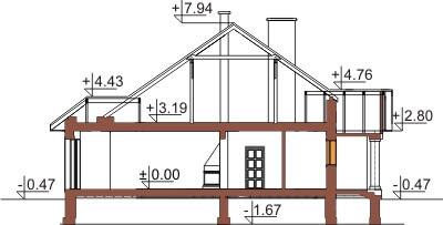 Projekt domu L-6326 - przekrój