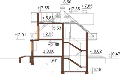 Projekt domu DM-6341 - przekrój