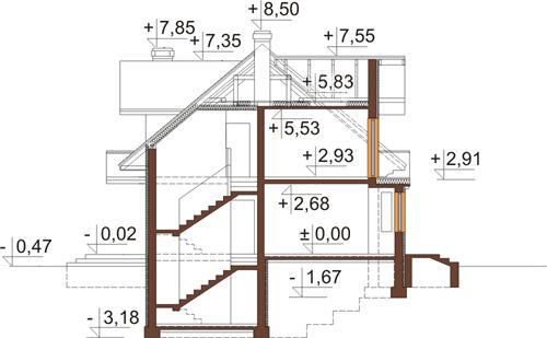 Projekt domu L-6341 - przekrój