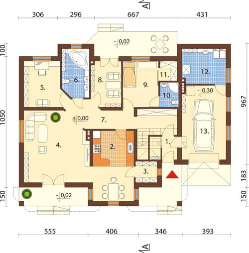Projekt domu DM-6371 - rzut
