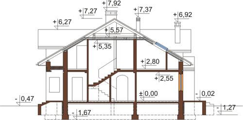 Projekt domu DM-6371 - przekrój