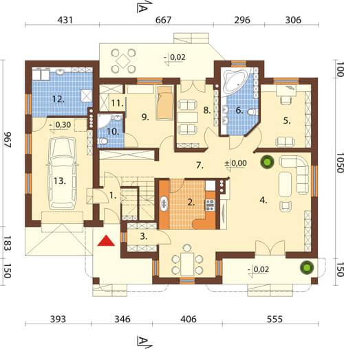 Projekt domu L-6371 - rzut