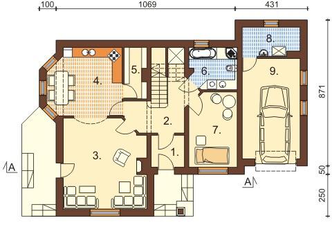 Projekt domu DM-6373 - rzut