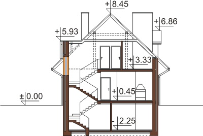 Projekt domu L-6363 - przekrój