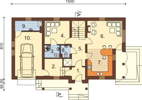 Projekt domu DM-6369 - rzut