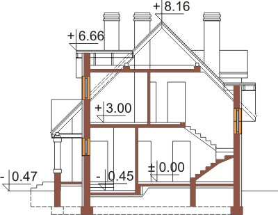 Projekt domu L-6369 - przekrój