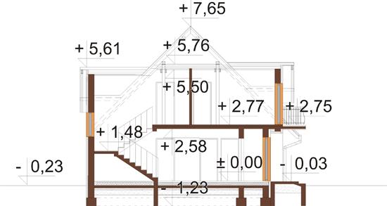 Projekt domu L-6349 - przekrój