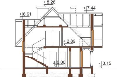 Projekt domu L-6350 - przekrój