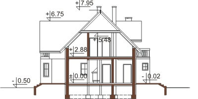 Projekt domu L-6357 - przekrój