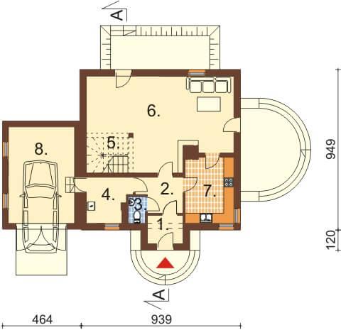 Projekt domu DM-6358 - rzut
