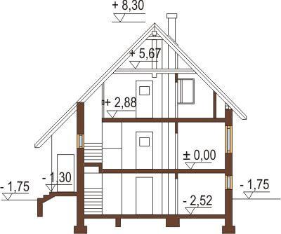 Projekt domu DM-6088 - przekrój
