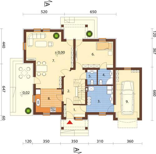 Projekt domu L-6370 - rzut