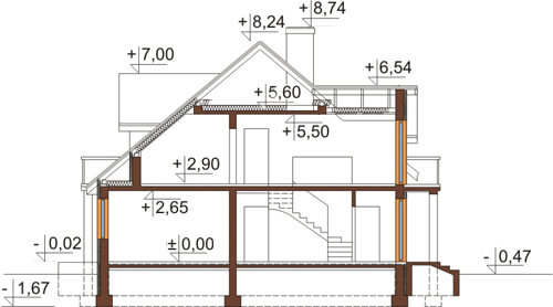 Projekt domu L-6370 - przekrój