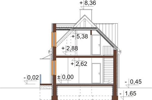 Projekt domu DM-6417 - przekrój