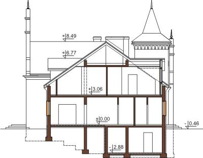 Projekt domu RW-01 - przekrój