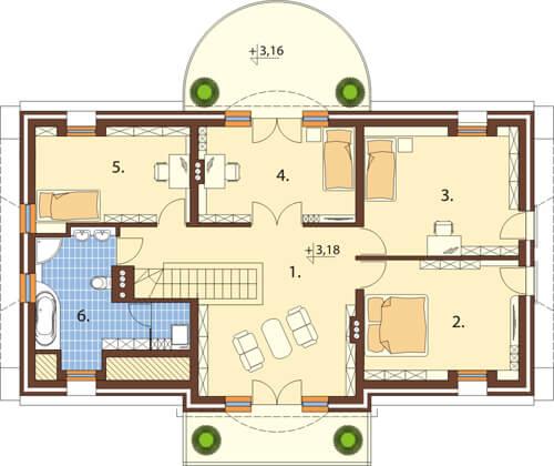 Projekt domu DM-6414 - rzut