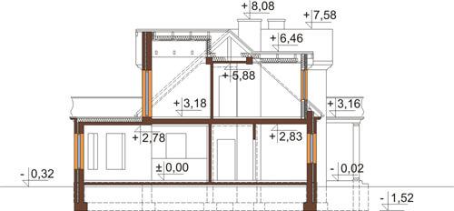 Projekt domu DM-6414 - przekrój