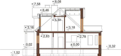 Projekt domu L-6414 - przekrój