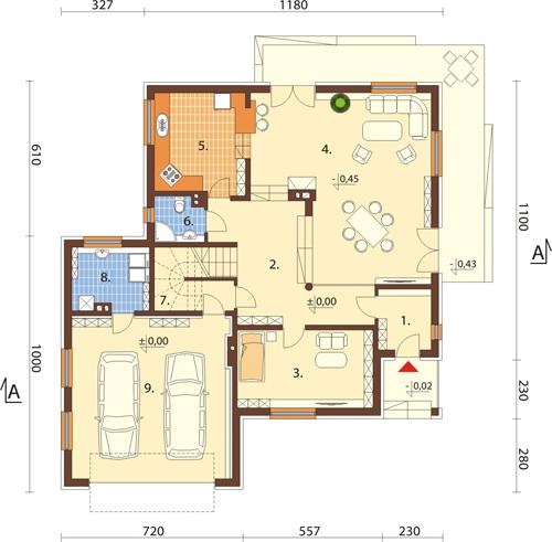 Projekt domu L-6418 - rzut