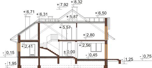Projekt domu L-6418 - przekrój