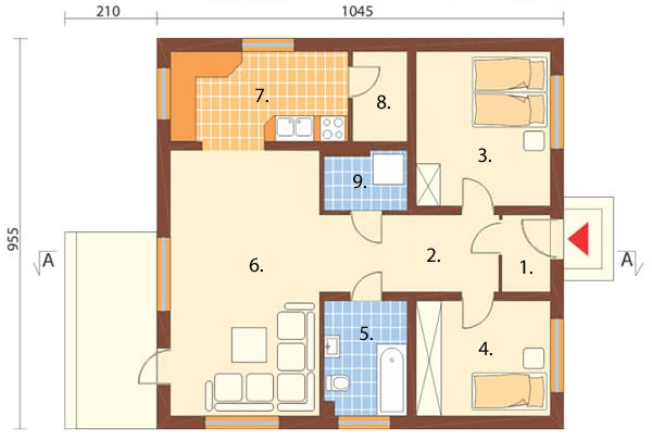 Projekt domu DM-5519 - rzut