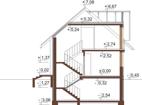 Projekt domu L-6390 - przekrój