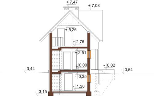 Projekt domu DM-6408 - przekrój