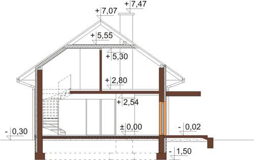 Projekt domu DM-6419 - przekrój