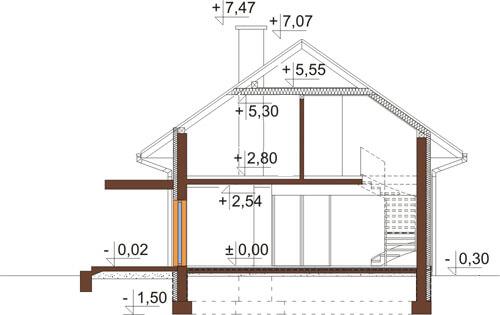 Projekt domu L-6419 - przekrój